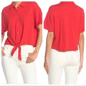 Splendid Tie Hem Button Front Top
